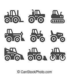 Tractors, Farm and Buildings Machines Icons Set. Vector