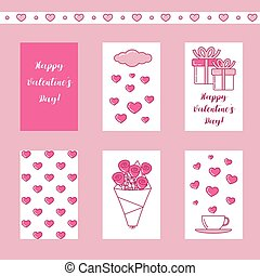 Valentine set of cards with hearts, presents and roses