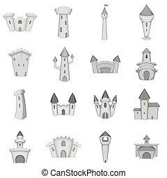 Castle tower icons set, monochrome style - Castle tower...