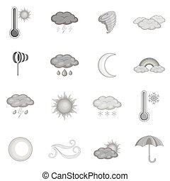 Weather icons set, monochrome style