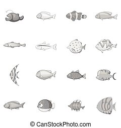 Different fish icons set, monochrome style - Different fish...