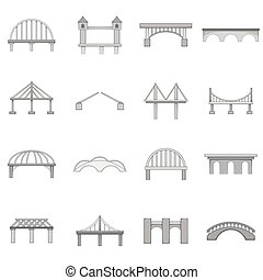 Bridge construction icons set, monochrome style - Bridge...