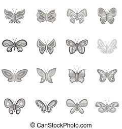 Butterfly fairy icons set, monochrome style