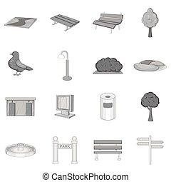 Park icons set, monochrome style