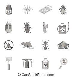 Exterminator icons set, monochrome style - Exterminator...