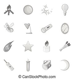 Sources of light icons set, monochrome style