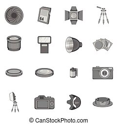 Photo studio icons set, monochrome style - Photo studio...