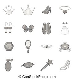 Princess doll icons set, monochrome style