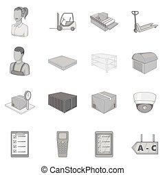 Warehouse store icons set, monochrome style - Warehouse...