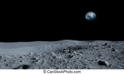 Moon Rotating Past The Earth - View from surface of the moon...