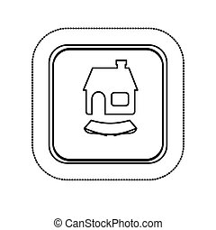 sticker monochrome silhouette square with house and ribbon...
