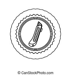 monochrome silhouette sticker with circular frame with...
