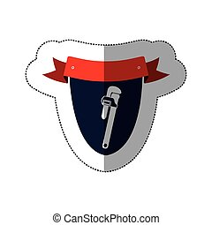 middle shadow sticker with shield frame with pipe wrench...
