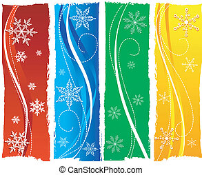 grungy colorful christmas banners