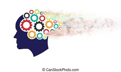 Head Gears with Dust. Abstraction of Thinking Mind, Memory...