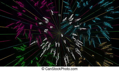 Colorful Sunburst with Fireworks Motion Graphic