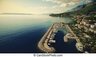 Tucepi port aerial - Aerial view of the small town port...