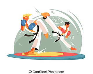 Guys karate sparring for training. Boy hits foot. Vector...