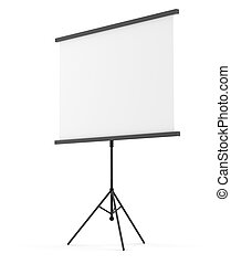 Blank portable projection screen over white background. 3D...