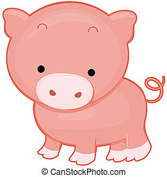 Cute Pig with Clipping Path