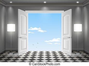 Open door in the sky. The interior of the dark room. Vector...