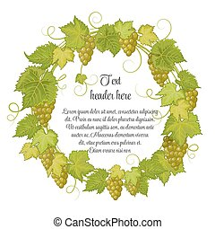 Hand drawn wreath with grapes isolated on white background....