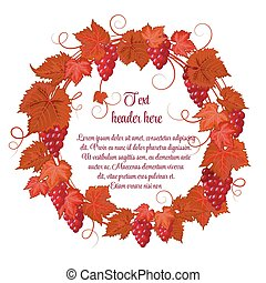 Wreath of grapes and grape leaves hand drawing vector...