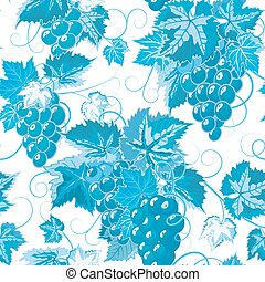 Seamless pattern with branches, leaves and berries of grapes. Vector. Designs for textiles, paper, fabrics, wallpaper. Blue colors.