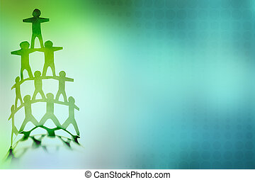 Team - Human team pyramid on color background