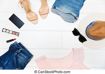 women's fashion clothes and accessories, top view with copy space