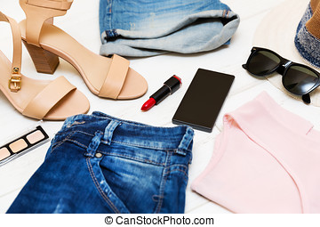 women's fashion clothes and accessories, shopping concept
