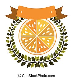 colorful olive crown and label with half orange fruit vector...