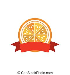 label silhouette colorful with half orange vector...