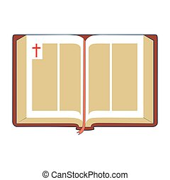 Open Bible. Flat Illustration - Open Bible with brown cover...