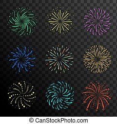 Colorful festive firework balls, sparklers, salute and petards explosions collection, design elements isolated on transparent background