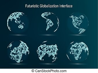 World Map Point Set. North America. South . Africa. Asia. Europe. Australia And Oceania. Vector Illustration. Futuristic Digital Earth. Science Technology Abstract Background