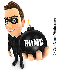 3d thief holding a bomb, illustration with isolated white...