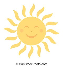 Happy sun illustration - Happy sun icon with smile...