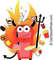 Food Temptation - A vector cartoon representing a funny...