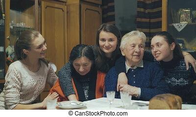 Happy family generation smiling to camera. - Happy family...