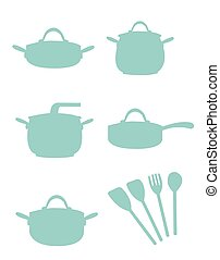 Cooking Equipment Silouette - A vector cartoon representing...