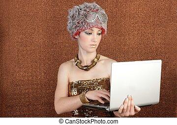 futuristic fashion student businesswoman laptop in hands