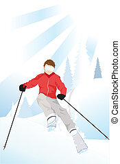 Skier in the mountain - Vector illustration of a skier...