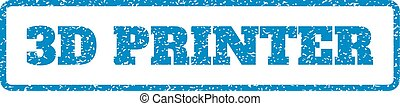 3D Printer Rubber Stamp - Blue rubber seal stamp with 3D...