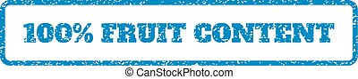 100 Percent Fruit Content Rubber Stamp - Blue rubber seal...