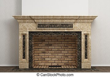 Fireplace in the interior - Respectable fireplace in the...