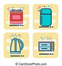 Line icons set with flat design elements Kitchen appliances...