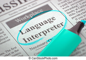 Language Interpreter Hiring Now. 3D. - Newspaper with Small...