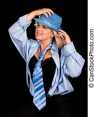 Woman posing in blue suit - Sexy woman posing in blue suit,...