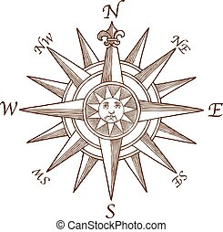 Vintage Compass Rose Engraving - high quality Vector Vintage...